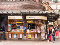 City Centre Shopping Kiosk Neuchatel Switzerland. City centre kiosk selling newspapers, magazines, confectionery, lottery tickets and money transfer services stock image