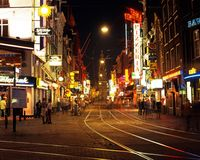 City centre at night, Amsterdam. Royalty Free Stock Images
