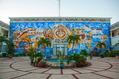 City centre Playa del Carmen. Mosaic on the building and the fountain in the yard. Mexico, Riviera Maya royalty free stock photography