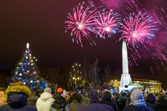New 2019 year clebration at old city center. Winter and fireworks. Travel urban photo 2019 stock image