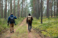 Free City Cesis, Latvia Republic. Two Photographers Walk Through The Forest And Enjoy The Beauty Of Nature. 2. November 2019 Royalty Free Stock Image - 163253426