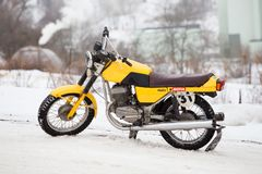 City Cesis, Latvia, Winter motocross, motorcycle, old Jawa. 2018 royalty free stock photography