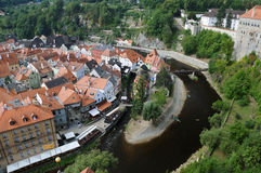 City of Cesky Krumlov. The Czech Republic. Historical town. River Vltava stock photo