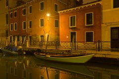 City channel by night royalty free stock photos