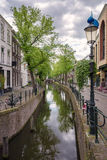 City channel. Urban canal flowing in the heart of the historic center Royalty Free Stock Photos