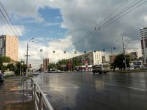 City of Chelyabinsk after a storm shower stock image