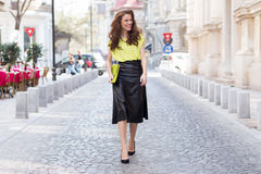 City chic girl with neon blouse Royalty Free Stock Photos