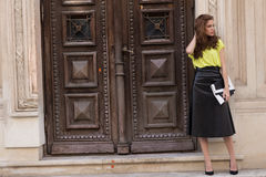 City chic girl with neon blouse Royalty Free Stock Image