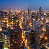 City of Chicago. Aerial view of Chicago downtown at twilight from high above stock photography