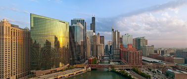 City of Chicago. Aerial view of Chicago at twilight blue hour royalty free stock image