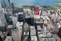 City of Chicago. Aerial view of Chicago downtown at nigh from hi Royalty Free Stock Photography