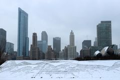 Snowy day in Chicago. City of Chicago downtown skyline during winter day. Modern architecture and cityscape background Royalty Free Stock Image