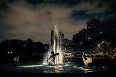 City of Chicago Lincoln Park fountain at night. Fountain sculptu Stock Photography