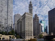City Chicago skyline and big office buildings royalty free stock photography