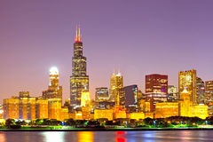 City of Chicago USA, sunset colorful panorama skyline Stock Images