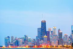 City of Chicago USA, sunset colorful panorama skyline Stock Image
