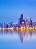 City of Chicago USA, sunset colorful panorama skyline Stock Photos