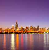 City of Chicago USA, sunset colorful panorama skyline Stock Photo