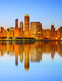 City of Chicago USA, sunset colorful panorama skyline Royalty Free Stock Images
