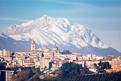 The city of Chieti and behind the mountain of Gran Sasso Stock Images