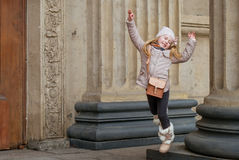 City  child. City child jumping on the street Royalty Free Stock Images