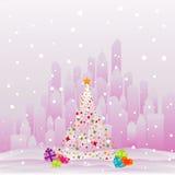 City at Christmas royalty free illustration