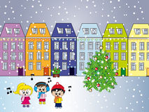 City at christmas vector illustration