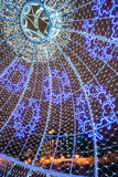 City Christmas illuminations in town square in central Minsk, Be Stock Image