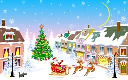 City, Christmas night, Santa Claus on a sleigh. City street in the winter Christmas night. Santa Claus on a sleigh with reindeer. Christmas tree. Houses covered stock illustration