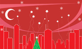 City during the Christmas time. stock illustration