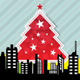 City with christmas tree Stock Photo