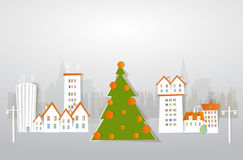 City and Christmas tree background, paper effect Royalty Free Stock Photography