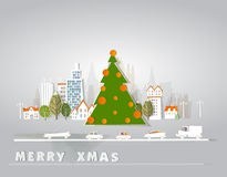 City and Christmas tree background, paper effect Stock Photo