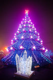 City Christmas tree with the evening lights Royalty Free Stock Images