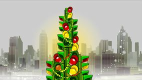 City Christmas Tree of the flashing traffic lights. On the background of the city stock video