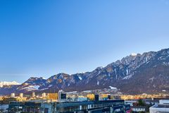 The City of Chur in the Alps of Switzerland at the border with Italy royalty free stock photography