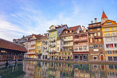 City Church and Bridge at Embankment in Thun Old City Stock Images
