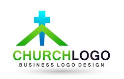 City church people union care love logo design icon on white background. In ai10 illustrations for company stock illustration