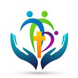 City church people union care love logo design icon on white background. Globe church people union hands taking care love peace logo design icon on white royalty free illustration