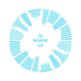 City in circle. Buildings around. Vector illustration vector illustration