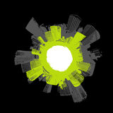 City in circle with green. Vector art Royalty Free Stock Image