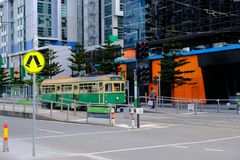 Melbourne, Australia, February 22, 2019 - The free No.35 tram that run within the city centre. The City Circle Tram route number 35 is free to ride within the stock photography