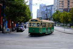 Melbourne, Australia, February 22, 2019 - The free No.35 tram that run within the city centre. The City Circle Tram route number 35 is free to ride within the royalty free stock photos