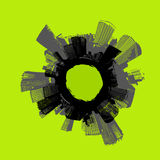 City in circle. Vector art. Royalty Free Stock Photo