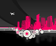City with circles on black background Stock Image