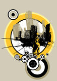 City with circles. Vector Stock Image