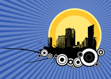 City with circles. Vector. City with circles on blue background Stock Photography
