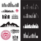 City. Cityscape. Buildings. City. Cityscape. Buildings icons set. Building background Stock Images