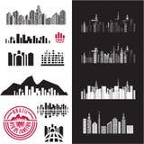 City. Cityscape. Buildings. City. Cityscape. Buildings icons set. Building background royalty free illustration