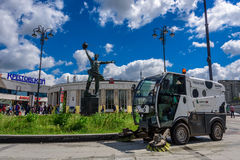 City cleaning machine, monument to creators of the first earth satellite, shopping center Krestovsky and metro station Rizhskaya Royalty Free Stock Photos